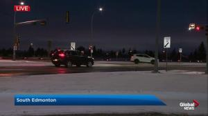 Freezing rain and blowing snow on Edmonton roads